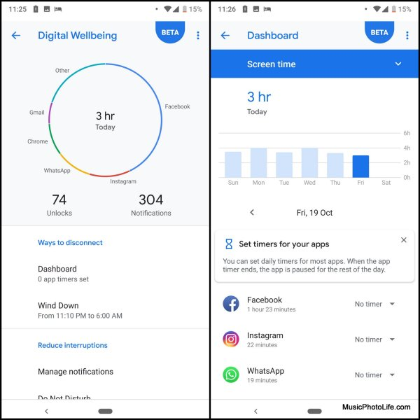 Google Pixel 3 XL Digital Wellbeing app