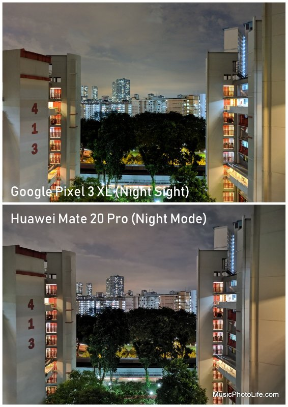 Google Pixel 3 XL Night Sight vs. Huawei Mate 20 Pro Night Mode