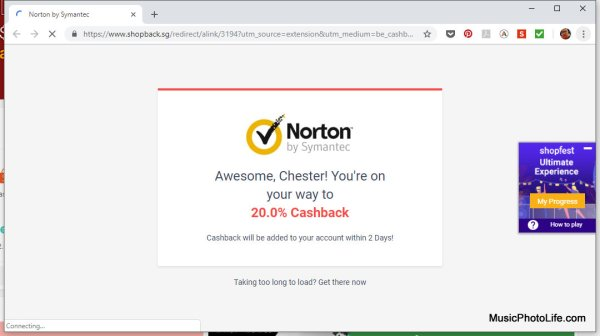 Shopback on Norton website