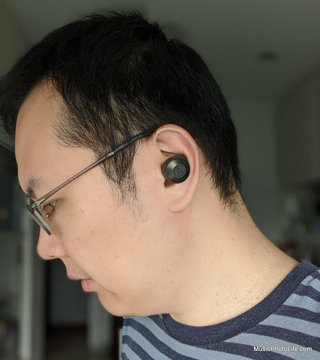 Audio-Technica ATH-CKS5TW wearing in ears
