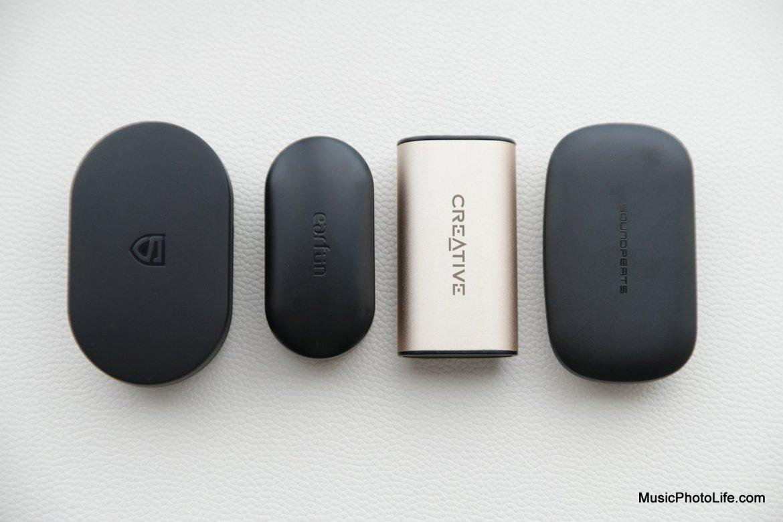 Soundpeats TrueShift2, Earfun Free, Creative Outlier Gold, and Soundpeats TrueBuds