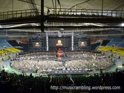 The concert and stage set-up inside the Seoul Olympics Park Stadium.