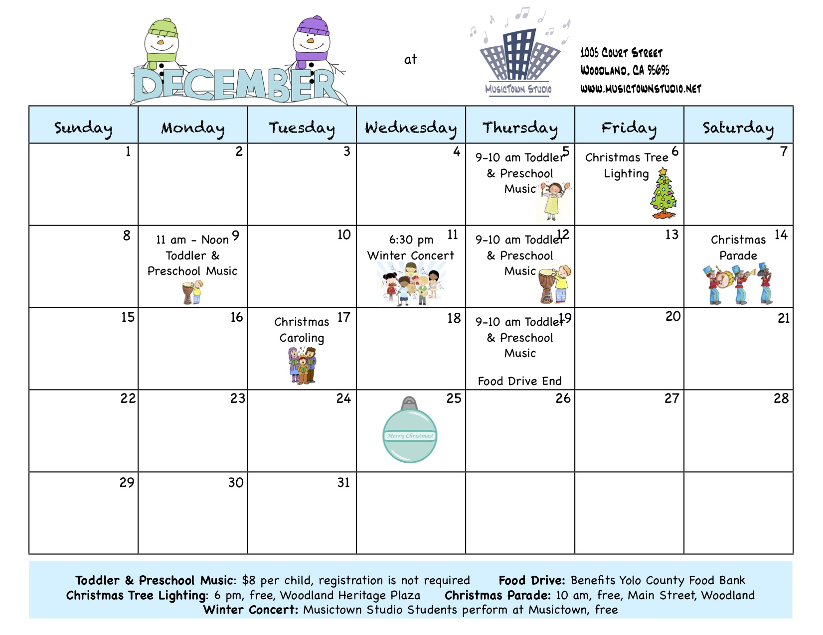 December Toddler And Preschool Music Group Schedule