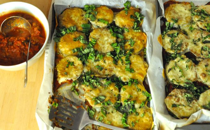 picture of a large platter of eggplant parmesan