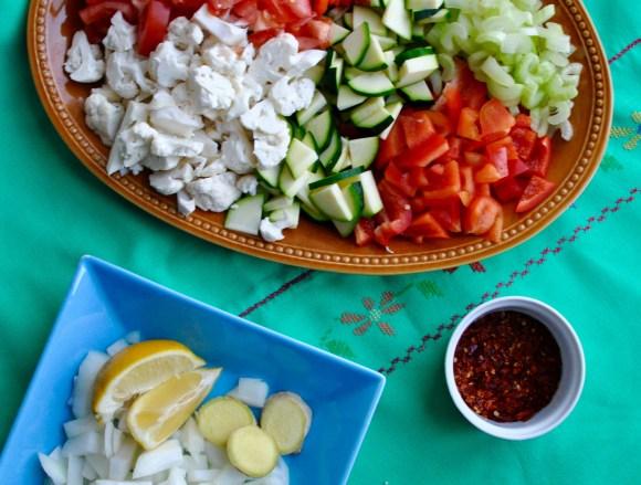 Cut up vegetables on a platter