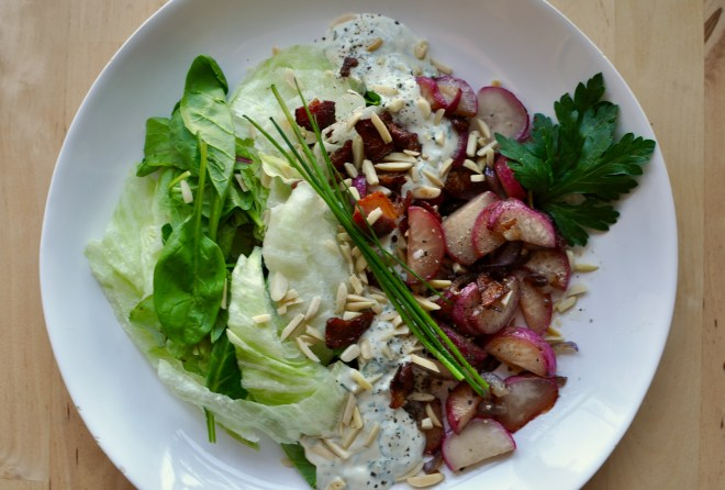 Sautéed radish salad with iceberg lettuce and toasted almonds