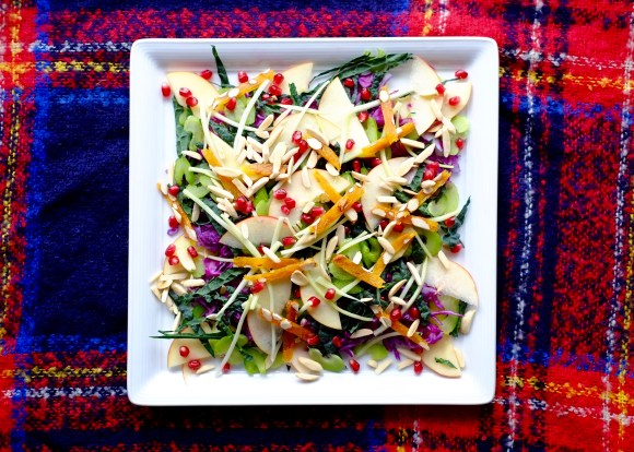 Big crunchy winter salad on a white plate.