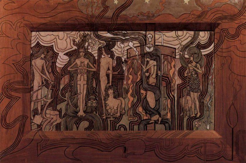 Jan Toorop: Das Lied der Zeit. 1893, Pastel und Kohle, 32 × 58,5 cm. Otterlo, Rijksmuseum Kröller-Müller