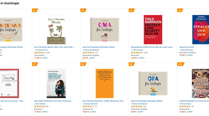 Verkaufsrang Soziologie 27.1.2020 bei Amazon