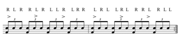 One of the challenging paradiddle variations: paradiddles in triplets