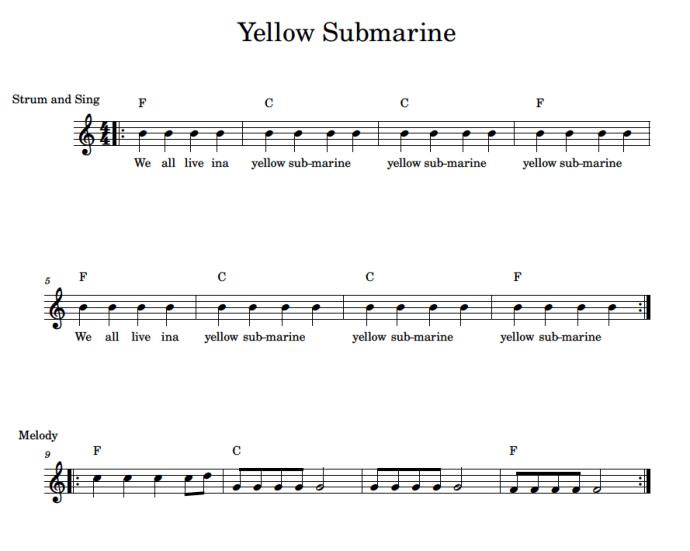 yellow submarine for ukulele beginners