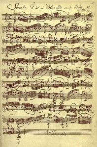 Manuscrito sonata Bach