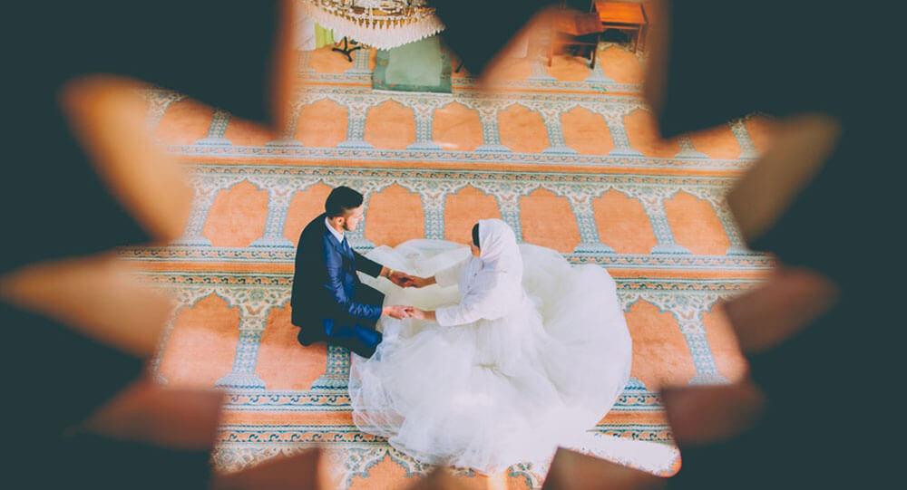 Hochzeit Moslemische Paar Wahrend Der Trauung Muslim Ehe