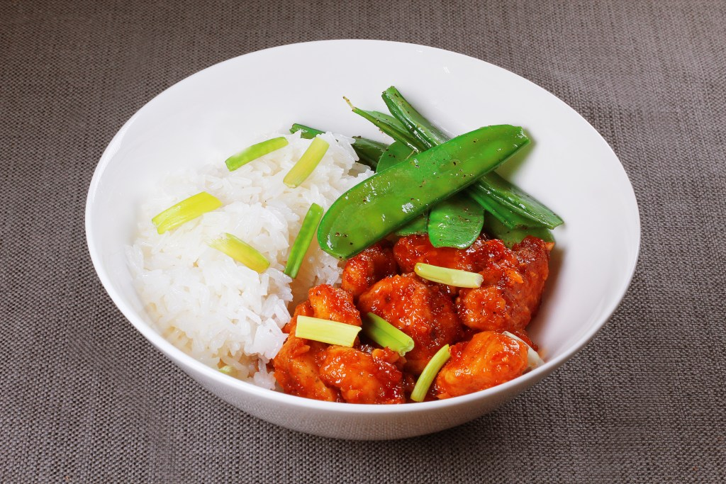 Crispy Chinese Chicken with Jasmine Rice and Snow Peas