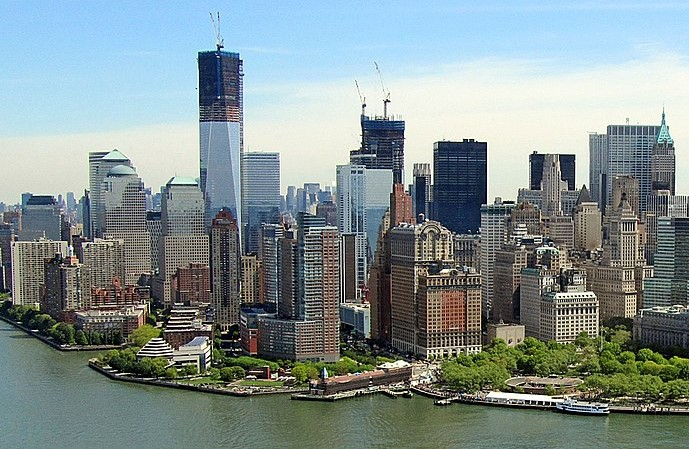 View of Lower Manhattan, New York after the attacks on September 11th, 2001.