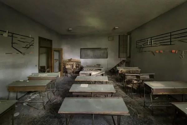 Dark, abandoned class room