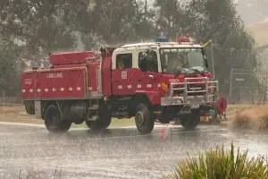 Fire truck in the rain