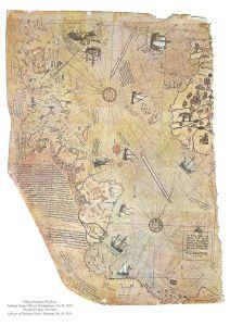 خريطة العالم المذهلة التي رسمها الريس ويظهر فيها سواحل القارتين الأمريكتين والقارة القطبية الجنوبية
