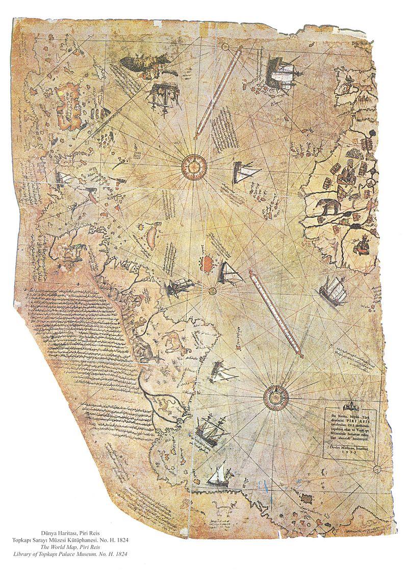 ac5b991d9 خريطة العالم المذهلة التي رسمها الريس ويظهر فيها سواحل القارتين الأمريكتين  والقارة القطبية الجنوبية
