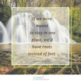 If we were meant to stay in one place, we'd have roots instead of feet.