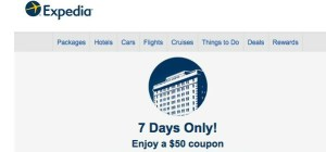 NEW Expedia coupon $50 off  a $200 hotel booking