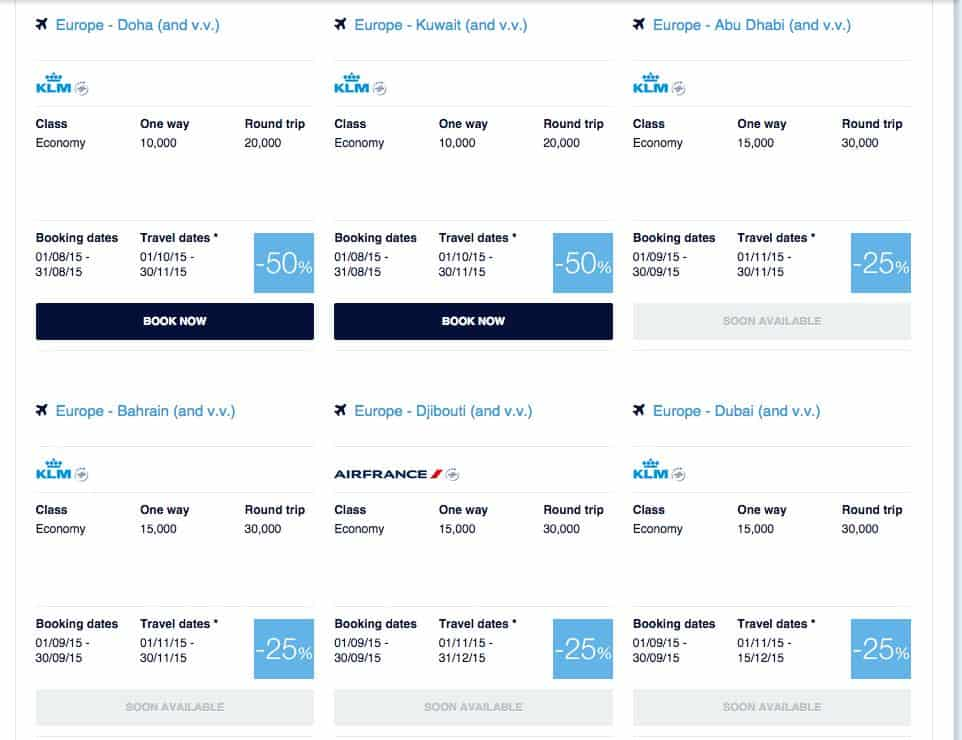 KLM Promo Awards for September Travel in November/December