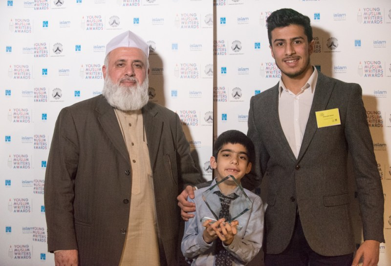 Writer of the year Zakariya Robinson with the Chairman Syed Lakhte Hassanain and Hudhayfah ashraf
