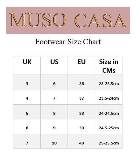 Muso Casa Footwear Size Chart