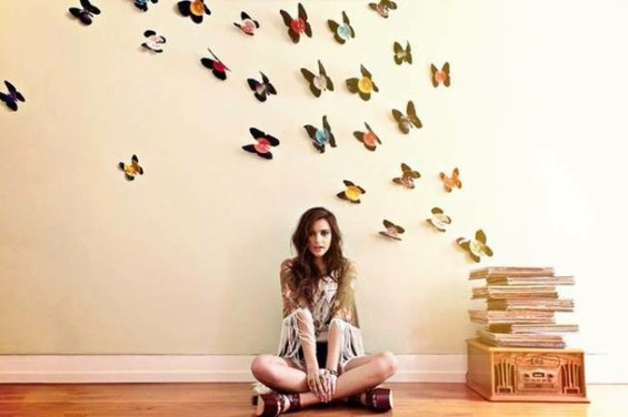 3D butterflies from vinyl record