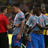 BERN, SWITZERLAND - SEPTEMBER 14: Aaron Wan-Bissaka of Manchester United is sent off during the UEFA Champions League group F match between BSC Young Boys and Manchester United at Stadion Wankdorf on September 14, 2021 in Bern, Switzerland. (Photo by Matthew Peters/Manchester United via Getty Images)