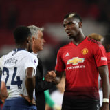 MANCHESTER, ENGLAND - AUGUST 27:  Jose Mourinho, Manager of Manchester United comforts Paul Pogba of Manchester United after the Premier League match between Manchester United and Tottenham Hotspur at Old Trafford on August 27, 2018 in Manchester, United Kingdom.  (Photo by Michael Regan/Getty Images)