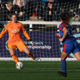 BROMLEY, ENGLAND - NOVEMBER 18:  Siobhan Chamberlain of Manchester United women in action during the FA Women's Championship match between Crystal Palace and Manchester United at Hayes Lane on November 18, 2018 in Bromley, England.  (Photo by Manchester United/Manchester United via Getty Images)
