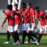 MANCHESTER, ENGLAND - AUGUST 24: Anthony Elanga of Manchester United U18s celebrates scoring their second goal during the U18 Premier League match between Manchester United U18s and Blackburn Rovers U18s at Aon Training Complex on August 24, 2019 in Manchester, England. (Photo by Manchester United/Manchester United via Getty Images)