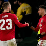 DERBY, ENGLAND - MARCH 05: Luke Shaw of Manchester United celebrates scoring their first goal during the FA Cup Fifth Round match between Derby County and Manchester United at Pride Park on March 05, 2020 in Derby, England. (Photo by Ashley Donelon/Manchester United via Getty Images)