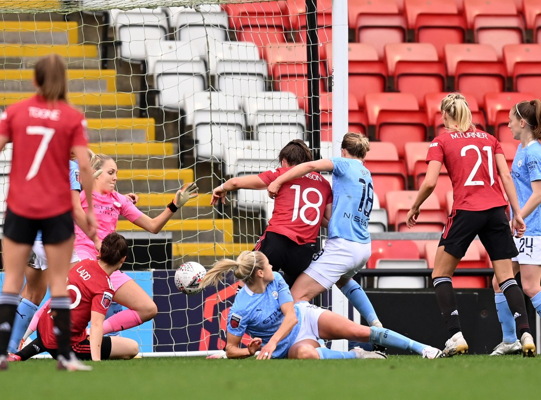 Manchester United Women v Manchester City Women - Barclays FA Women's Super League. Kirsty Hanson