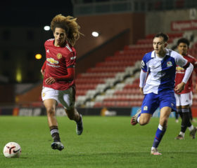 LEIGH, ENGLAND - FEBRUARY 05: Hannibal Mejbri of Manchester United U23s in action during the Premier League 2 match between Manchester United U23s and Blackburn Rovers U23s at Leigh Sports Village on February 05, 2021 in Leigh, England. (Photo by John Peters/Manchester United via Getty Images)