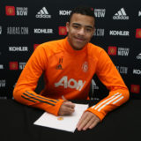MANCHESTER, ENGLAND - FEBRUARY 16: (EXCLUSIVE COVERAGE) Mason Greenwood of Manchester United poses after signing a new contract with the club at Aon Training Complex on February 16, 2021 in Manchester, England. (Photo by Matthew Peters/Manchester United via Getty Images)