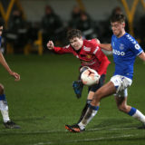 SOUTHPORT, ENGLAND - FEBRUARY 22: Charlie McCann of Manchester United U23s in action during the Premier League 2 match between Everton U23s and Manchester United U23s at Pure Stadium on February 22, 2021 in Southport, England. (Photo by John Peters/Manchester United via Getty Images)