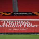 MANCHESTER, ENGLAND - FEBRUARY 25: A banner in the stands is seen reading 'football is nothing without fans' ahead of the UEFA Europa League Round of 32 match between Manchester United and Real Sociedad at Old Trafford on February 25, 2021 in Manchester, England. Sporting stadiums around the UK remain under strict restrictions due to the Coronavirus Pandemic as Government social distancing laws prohibit fans inside venues resulting in games being played behind closed doors. (Photo by Laurence Griffiths/Getty Images)
