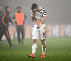 LONDON, ENGLAND - MARCH 03: Bruno Fernandes of Manchester United looks dejected after the Premier League match between Crystal Palace and Manchester United at Selhurst Park on March 03, 2021 in London, England. Sporting stadiums around the UK remain under strict restrictions due to the Coronavirus Pandemic as Government social distancing laws prohibit fans inside venues resulting in games being played behind closed doors. (Photo by Mike Hewitt/Getty Images)