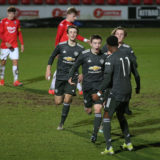 SALFORD, ENGLAND - MARCH 10: Daniel Gore of Manchester United U18s celebrates scoring their first goal during the FA Youth Cup match between Salford City U18s and Manchester United U18s at Peninsula Stadium on March 10, 2021 in Salford, England. (Photo by John Peters/Manchester United via Getty Images)