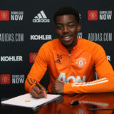MANCHESTER, ENGLAND - MARCH 16: (EXCLUSIVE COVERAGE) Anthony Elanga of Manchester United poses after signing a new contract at Aon Training Complex on March 16, 2021 in Manchester, England. (Photo by Matthew Peters/Manchester United via Getty Images)