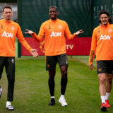 MANCHESTER, ENGLAND - MARCH 16: (EXCLUSIVE COVERAGE) Nemanja Matic, Paul Pogba, Edinson Cavani of Manchester United in action during a first team training session at Aon Training Complex on March 16, 2021 in Manchester, England. (Photo by Ash Donelon/Manchester United via Getty Images)