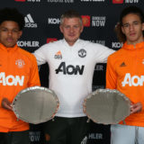 MANCHESTER, ENGLAND - MAY 21: (EXCLUSIVE COVERAGE) Shola Shoretire (L) and Hannibal Mejbri (R) of Manchester United are presented with the Jimmy Murphy Young Player of the Year award and the Denzil Haroun Reserve Team Player of the Year award by Manager Ole Gunnar Solskjaer at Aon Training Complex on May 21, 2021 in Manchester, England. (Photo by Matthew Peters/Manchester United via Getty Images)