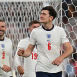 LONDON, ENGLAND - JULY 07: Harry Maguire of England acknowledges the fans following victory in the UEFA Euro 2020 Championship Semi-final match between England and Denmark at Wembley Stadium on July 07, 2021 in London, England. (Photo by Paul Ellis - Pool/Getty Images)