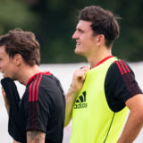 ST ANDREWS, SCOTLAND - AUGUST 03: (EXCLUSIVE COVERAGE) Harry Maguire of Manchester United in action during a first team training session on August 03, 2021 in St Andrews, Scotland. (Photo by Ash Donelon/Manchester United via Getty Images)