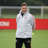 MANCHESTER, ENGLAND - AUGUST 08: Manager Marc Skinner of Manchester United Women poses at Carrington Training Ground on August 08, 2021 in Manchester, England. (Photo by Manchester United/Manchester United via Getty Images)