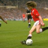 1985:  Jesper Olsen of Manchester United in action during the FA Cup final against Everton at Wembley Stadium in London. Manchester United won the match 1-0.  Mandatory Credit: Allsport UK /Allsport