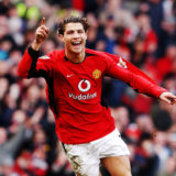 MANCHESTER, ENGLAND - MARCH 20:  Cristiano Ronaldo of Manchester United celebrates scoring the second goal of the FA Barclaycard Premiership match between Manchester United and Tottenham Hotspur at Old Trafford on March 20, 2004 in Manchester, England. (Photo by John Peters/Manchester United via Getty Images)