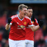 WATFORD, ENGLAND - NOVEMBER 21: Bastian Schweinsteiger of Manchester United celebrates scoring his team's second goal scored by Troy Deeney of Watford during the Barclays Premier League match between Watford and Manchester United at Vicarage Road on November 21, 2015 in Watford, England.  (Photo by Stephen Pond/Getty Images)